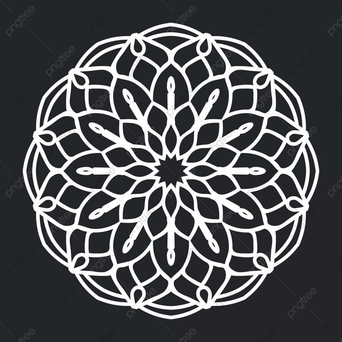 Mandala Floral Pattern Black And White Silhouette Ornament Element