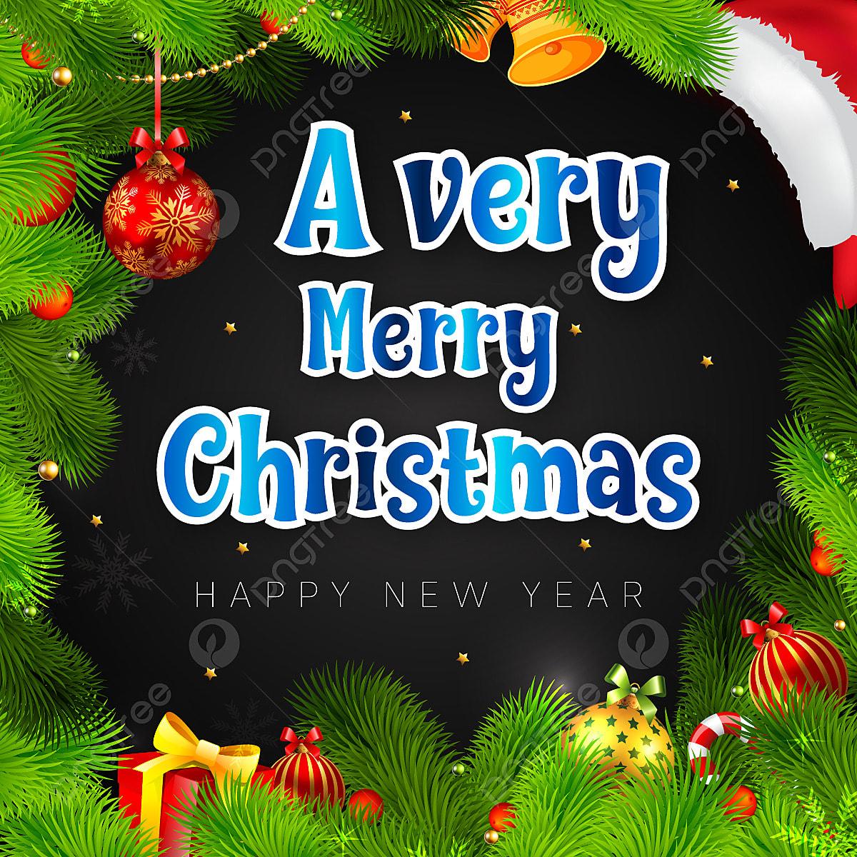 Merry Christmas Kaligrafi Dengan Pohon Natal Dan Unsur Unsur Yang Indah Hiasan Krismas Hiasan Pohon Selamat Tahun Baru Gambar Png Dan Vektor Untuk Muat Turun Percuma