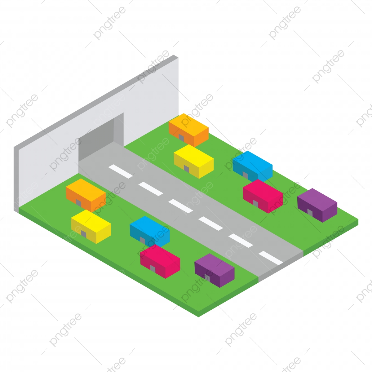 Modern Isometric City, 3d, Architecture, Building PNG and Vector