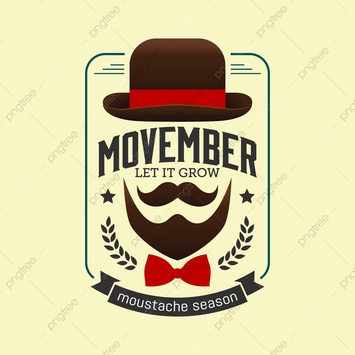2d4b95fbd61 Movember Prostate Cancer Awareness Month. Moustaches And Blue Ribbon ...