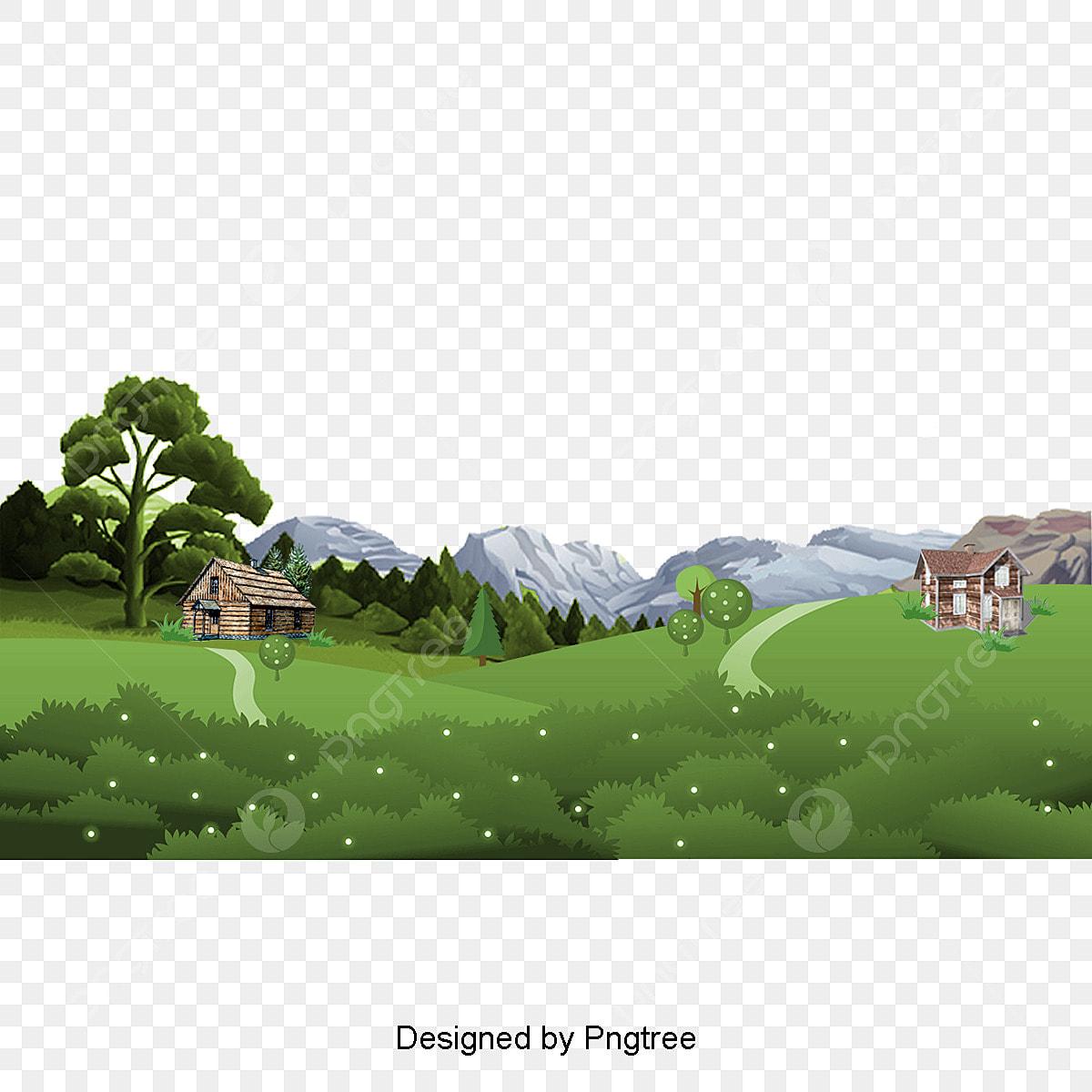 A Paisagem Natural Do Desenho Pintado A Mao Design De Estetica