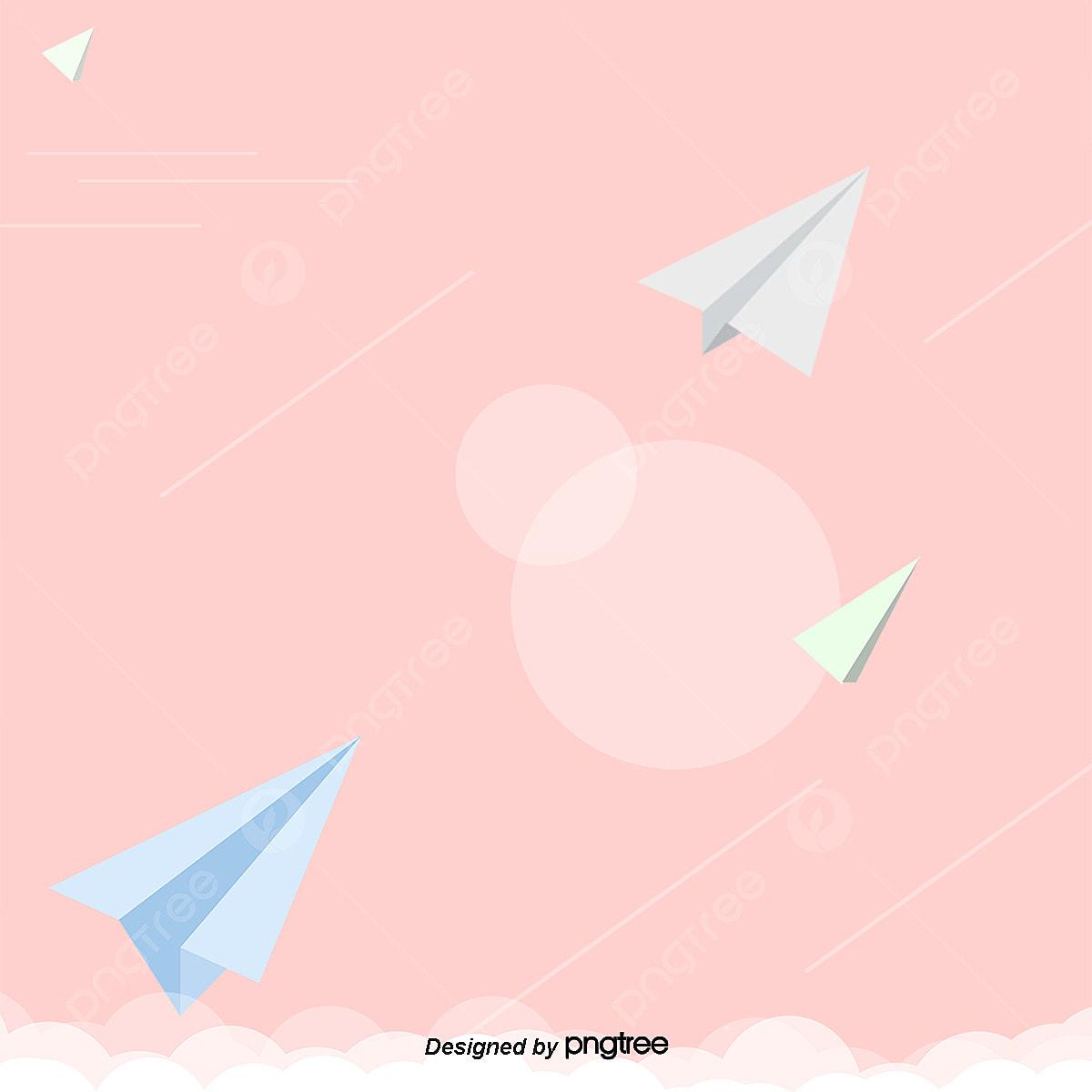 Pesawat Kad Kertas Hijau Biru Latar Belakang Warna Pink