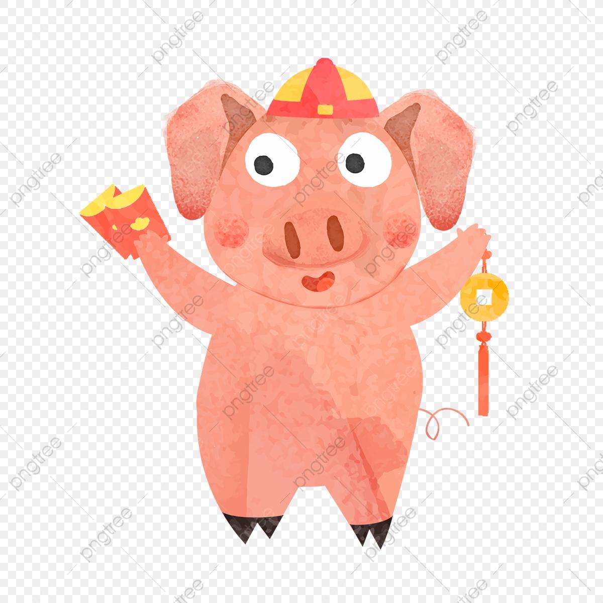 性格ブタ年子豚新年イラスト 愛らしい 漫画 豚画像とpsd素材ファイルの