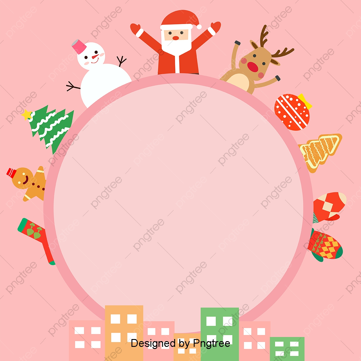 Pink Cute Cartoon Christmas Background With Simple Materials
