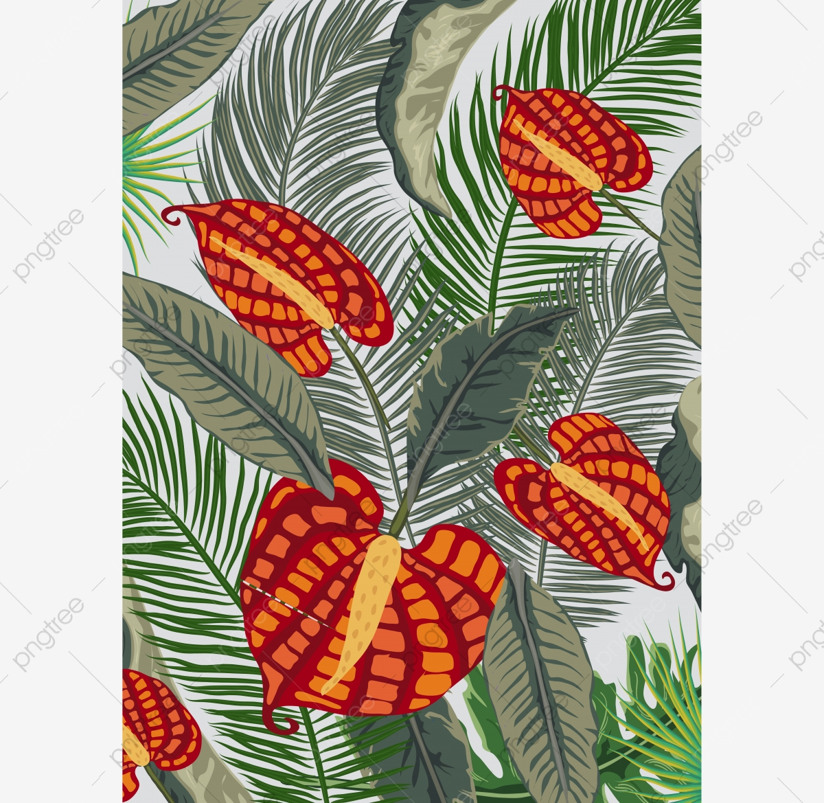 Posters Tropical Flora And Fauna Tropical Plant Parrot Background