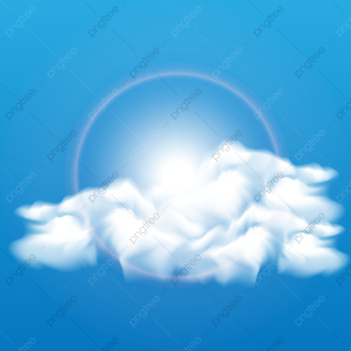 Realistic Vector Image Of Speech Cloud On Blue Sky, Clouds, Cloud