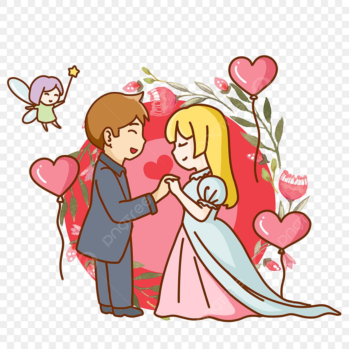 Amour Romantique Bouquet De Personnage De Dessin Animé Bisou