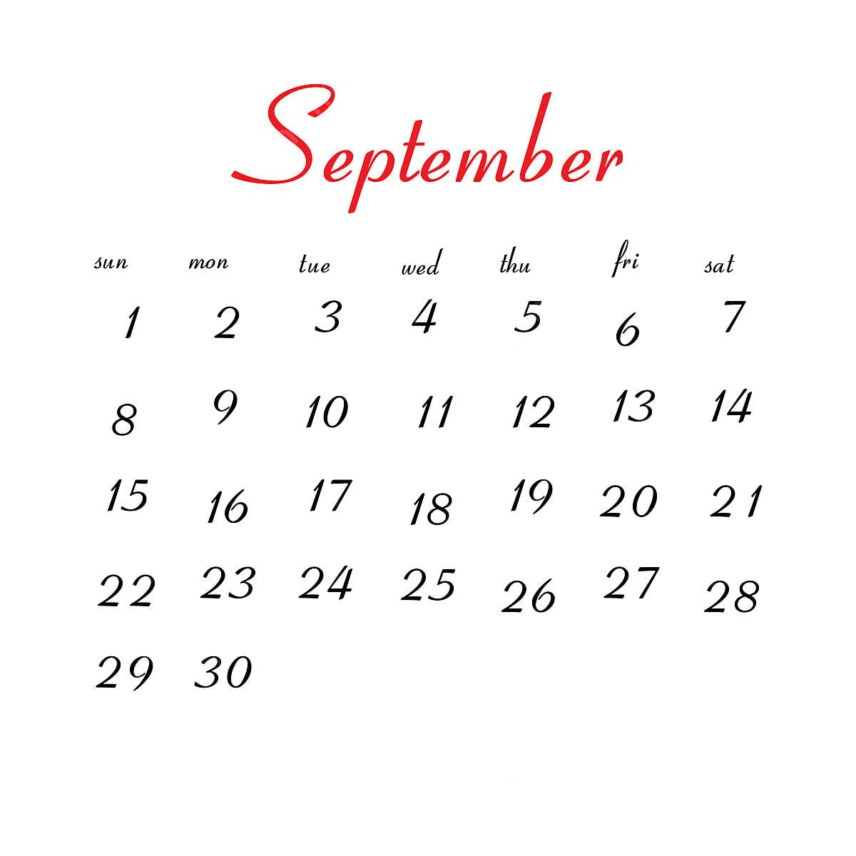 Calendario De Septiembre 2019 Para Imprimir Animado.Calendario De Septiembre De 2019 Calendario Vector Limpio