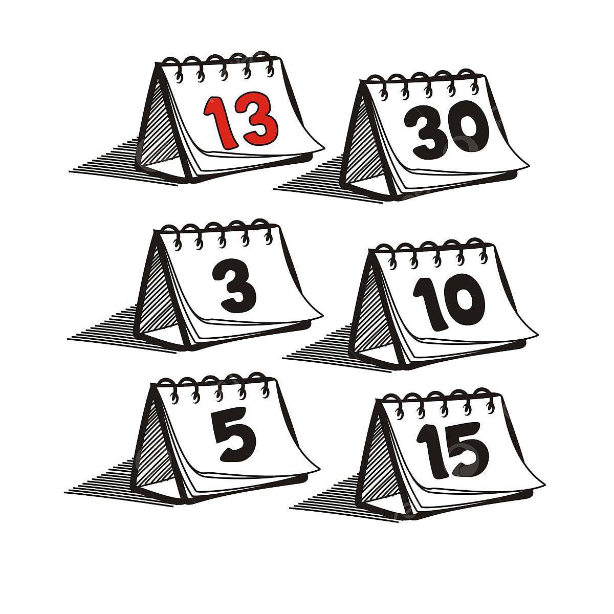 Calendario Dibujo Png.Conjunto De Calendario Diario Dibujo Hecho A Mano Resumen