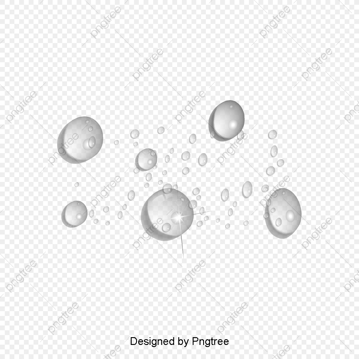 Simple Droplet Design Elements, Stereoscopic 3d Water Droplets