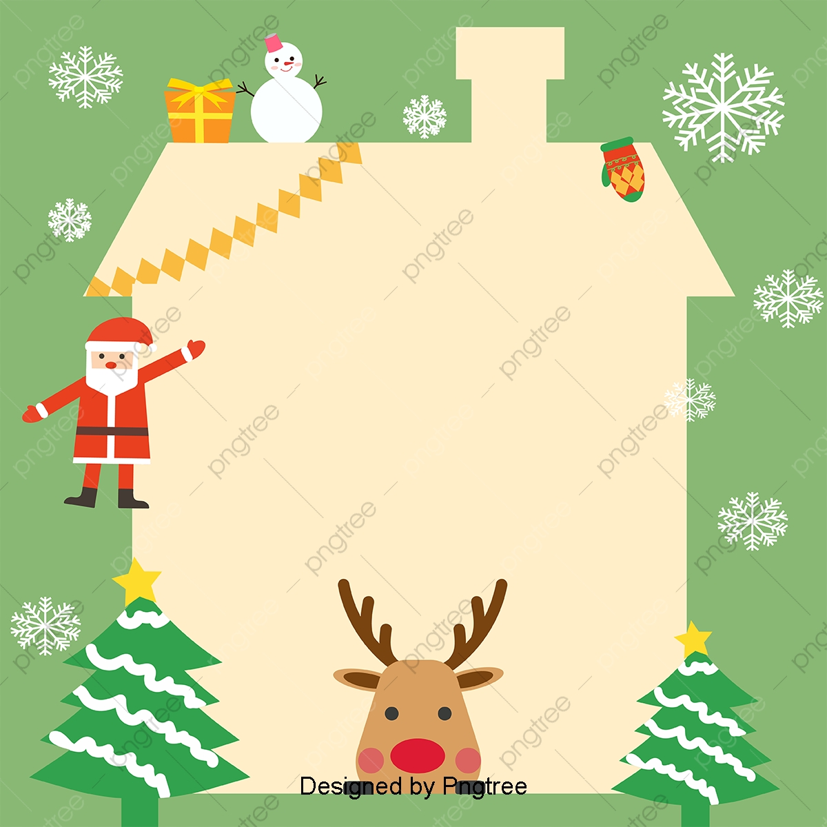 Simple Hand Painted Christmas Cute Cartoon Background, Fawn