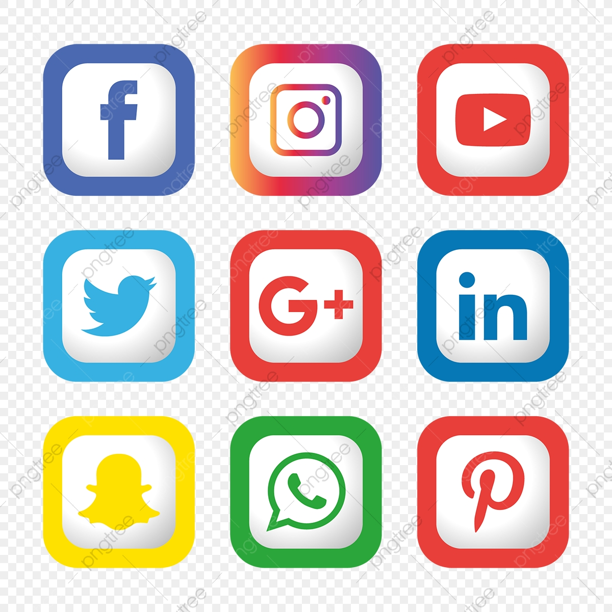 Instagram Pinterest Icons: Social Media Icons Set Logo Vector Illustrator, Social