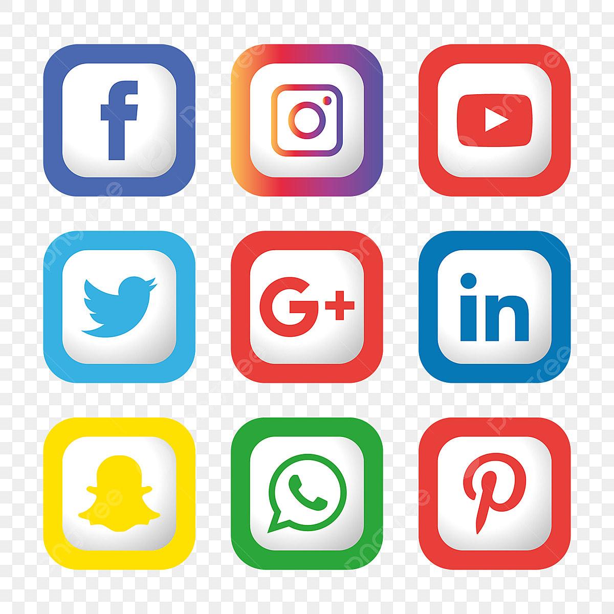 Social Media Icons Set Logo Vector Illustrator, Social ...