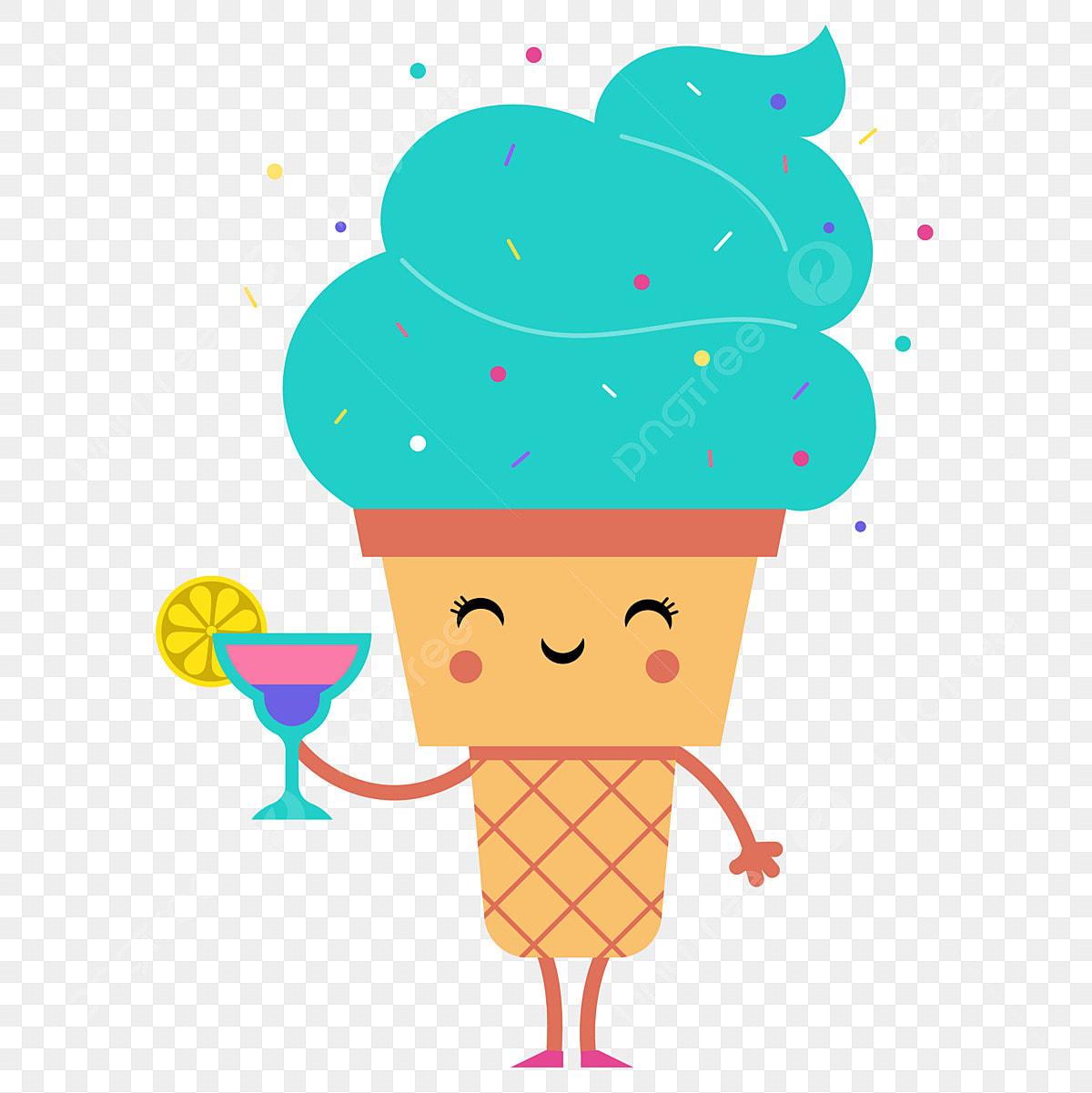 Ice cream summer. Cartoon expression pack drink