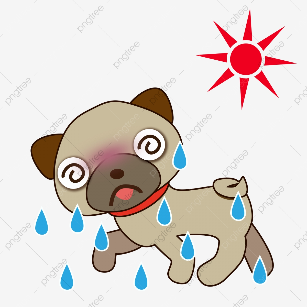 Sweaty Dog Cartoon Summer Great Heat Summer Vacation Is Here Small Heat Summer Png Transparent Clipart Image And Psd File For Free Download
