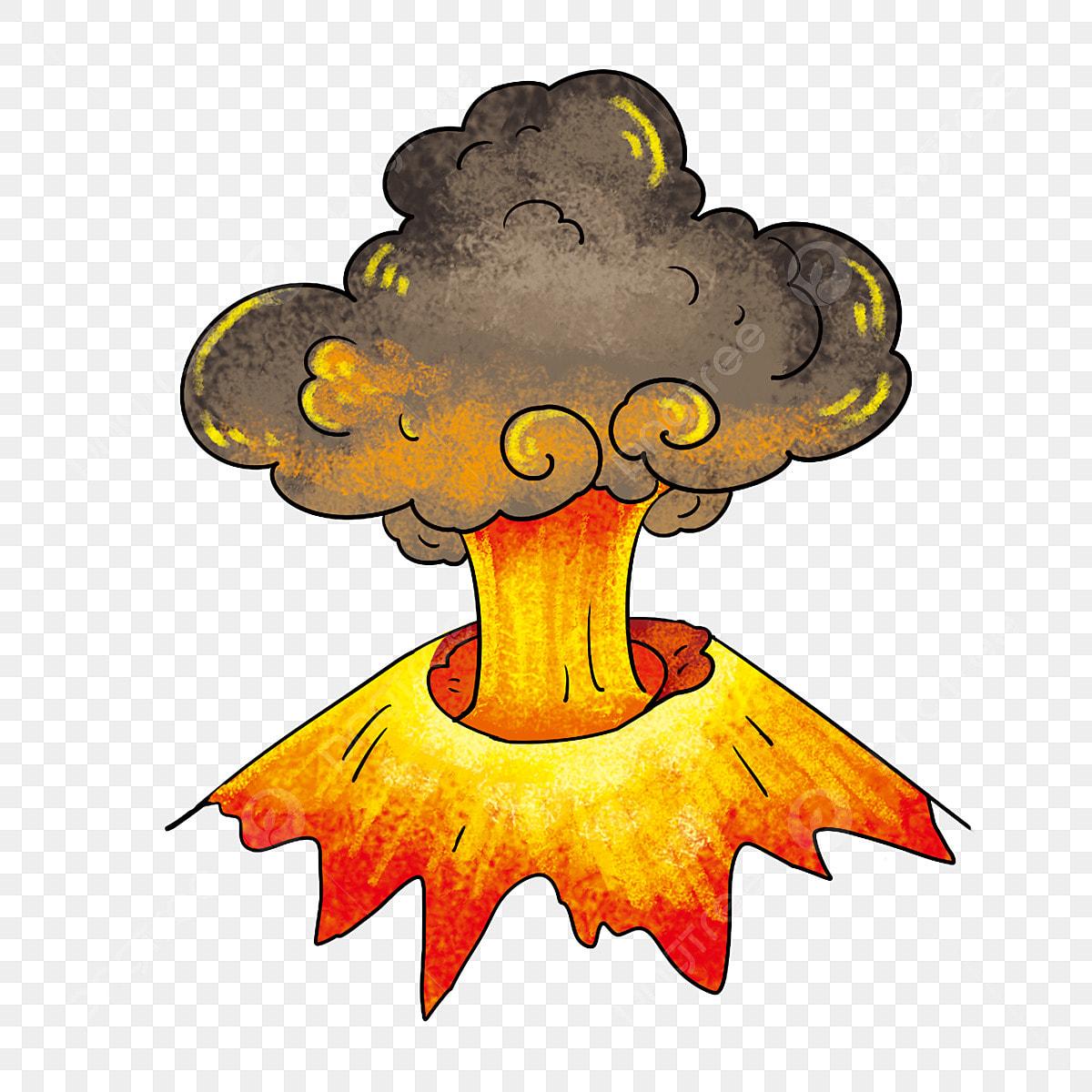 Eruptions Volcaniques Eruption Champignon Peint A La Main Nuage Volcan Dessin Anime Montagne Rouge Nuage Noir Nuages Noirs Fichier Png Et Psd Pour Le Telechargement Libre