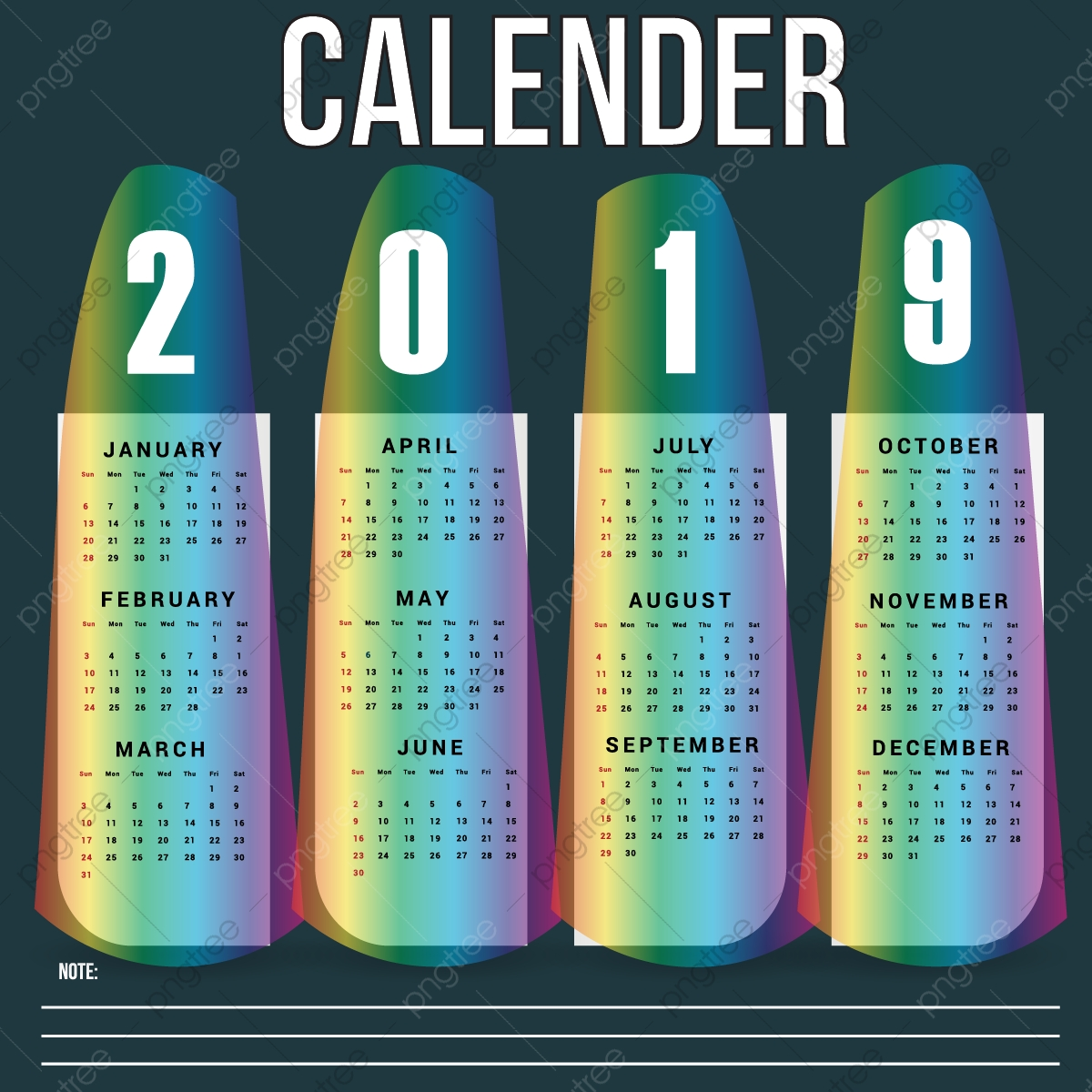 Calendario Rainbow.Calendario De Parede Rainbow Modelo De 2019vector Design