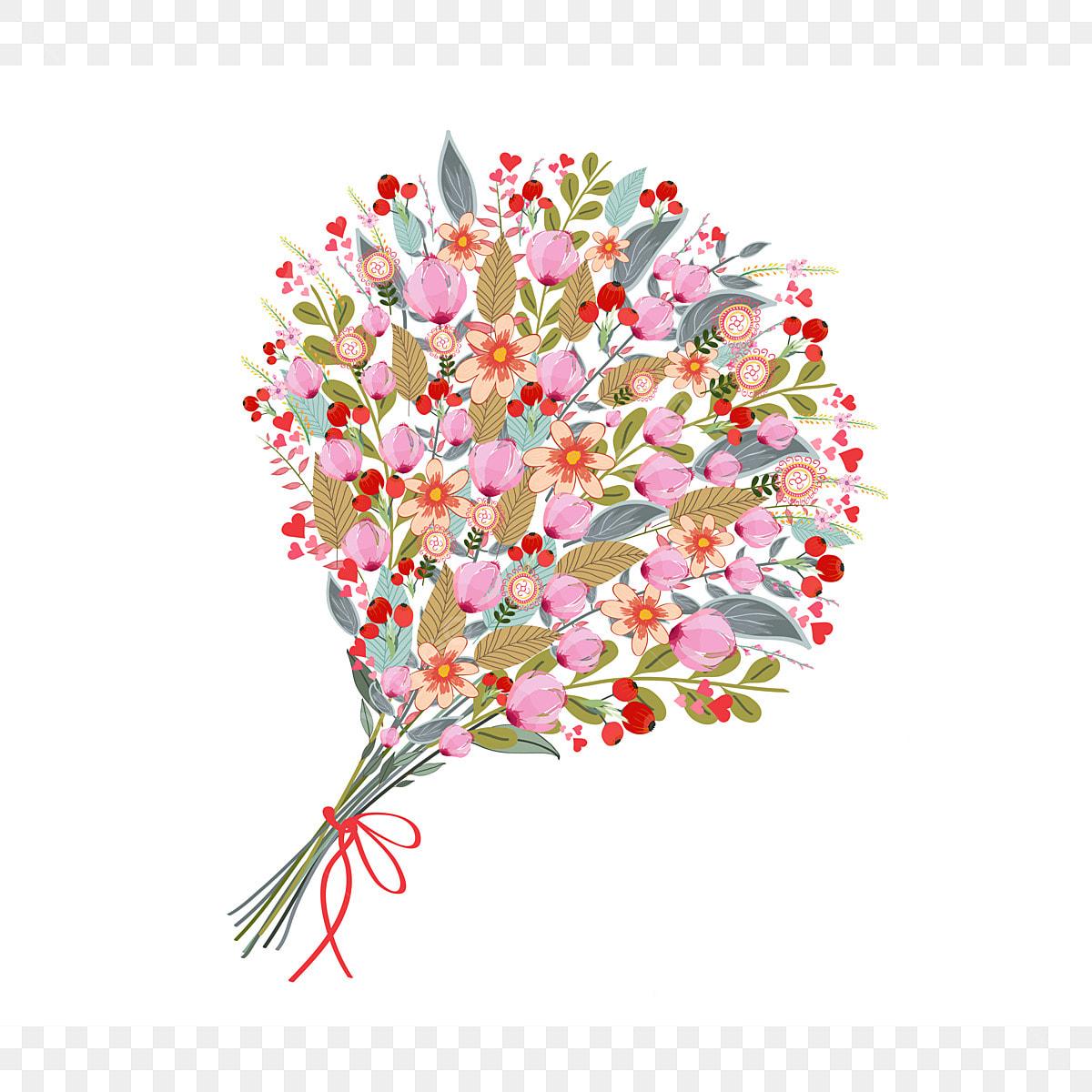 Watercolor Flowers Bouquet On White Background Flower Bird