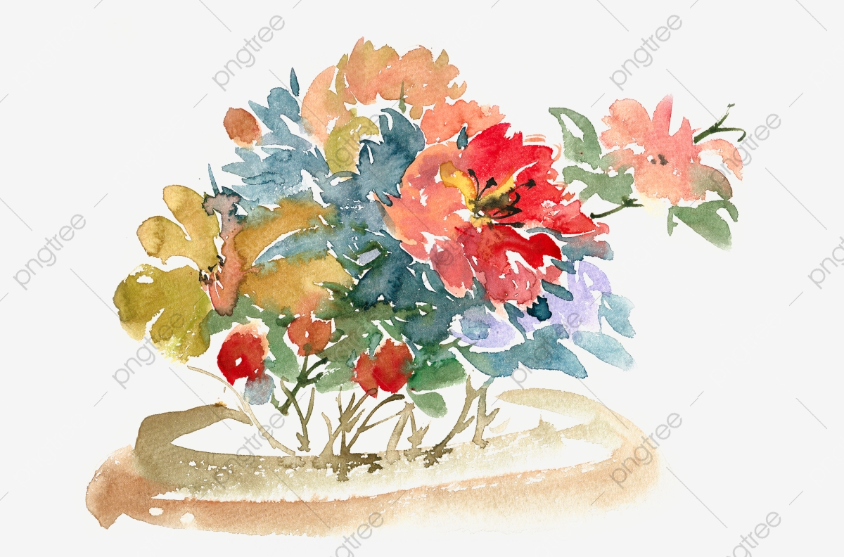 Pngtree & Watercolor Transparent Hand Painted Flower Pot In The Basin ...