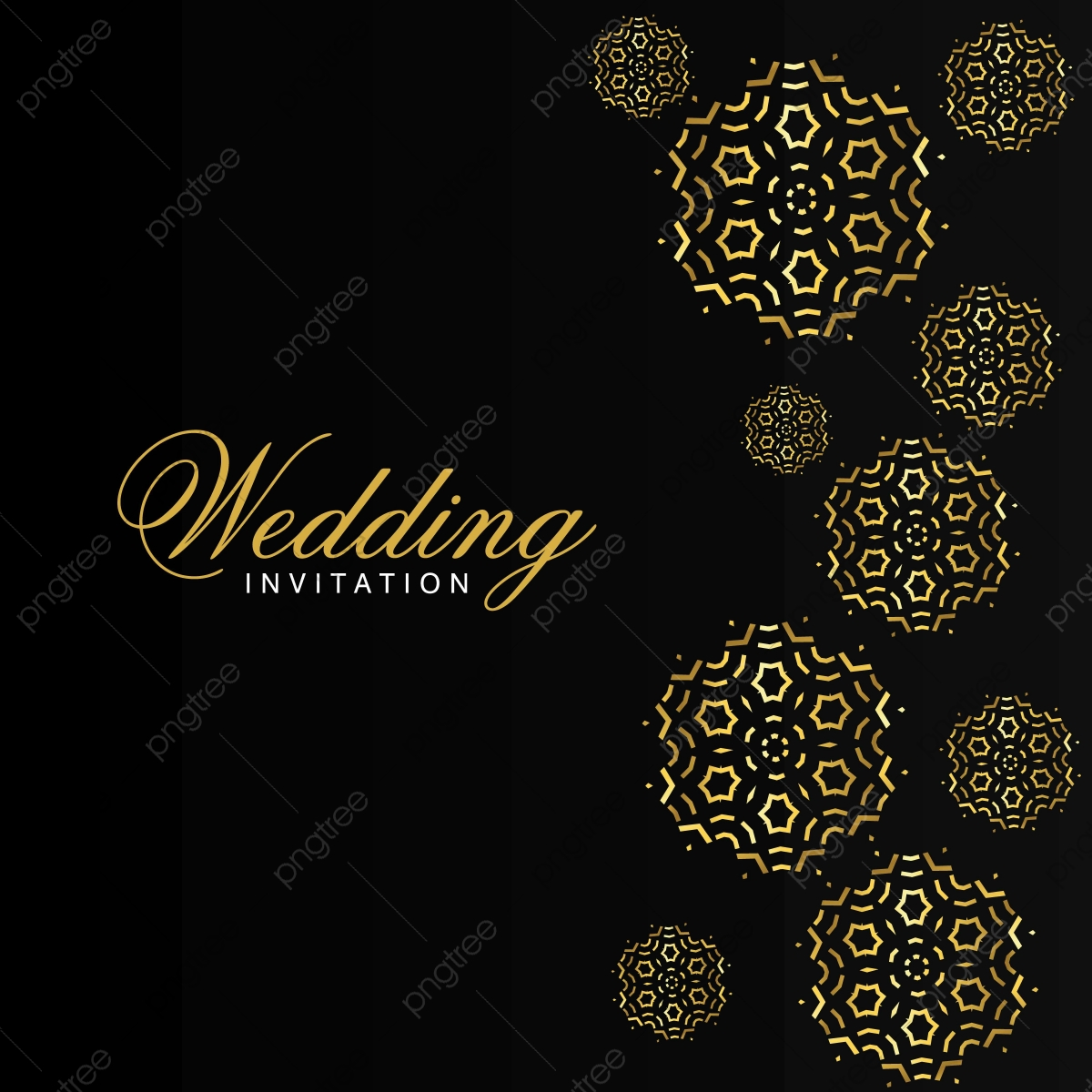 Wedding Card With Creative Design And Elegent Style Invitation Wedding Black And Gold Creative Wedding Invitation Card Png And Vector With Transparent Background For Free Download