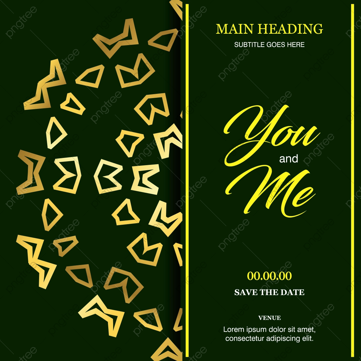 Wedding Ceremony Card With Elegent Design And Typography Vector