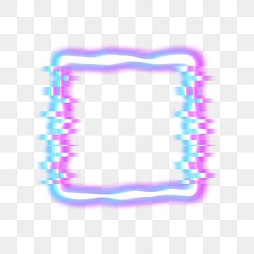 Neon Fault Irregular Wave Border, Irregular Border, Wave Border, Neon Border PNG and PSD