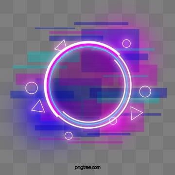 Blue purple Faulty Neon Round Border, Holographic, Circular, Glitch PNG and PSD
