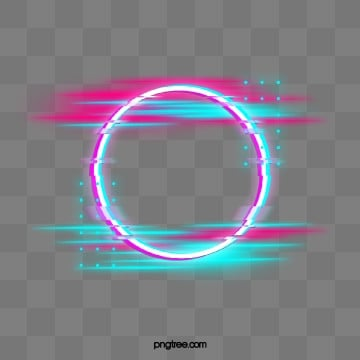 blue red fault neon round border, Holographic, Circular, Glitch PNG and PSD