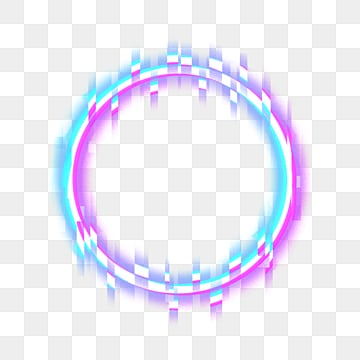 neon fault circular border, Round Border, Neon, Neon Fault PNG and PSD