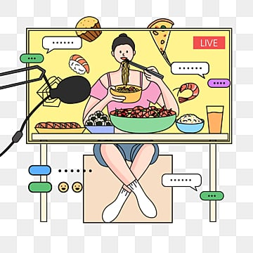 simple line drawing beauty big stomach king eating girl anchor food online live poster illustration element psd format, Simple Pen, Simple, Eating Anchor PNG and PSD