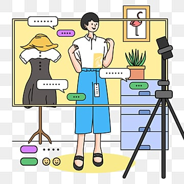 simple line drawing e commerce anchor clothing store seller promotion taobao live poster illustration element psd format, Taobao Live Broadcast, E-commerce, Simple Pen PNG and PSD