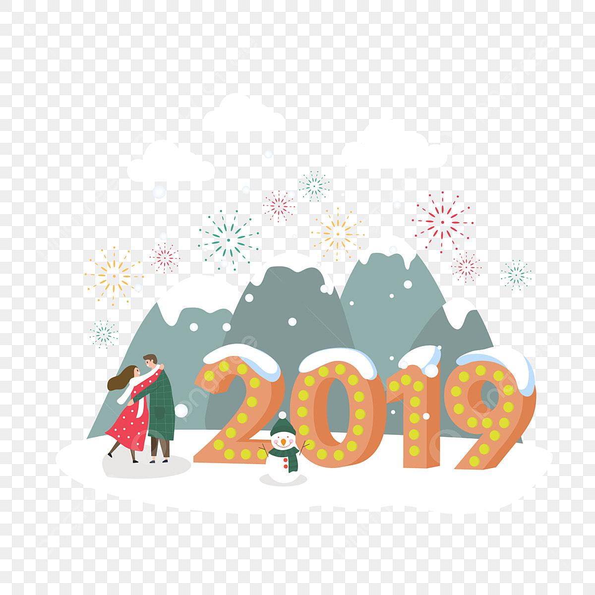 a544924f3b62 2019 Año Nuevo Pareja De Año Nuevo Gente Joven, Animados, Viento ...