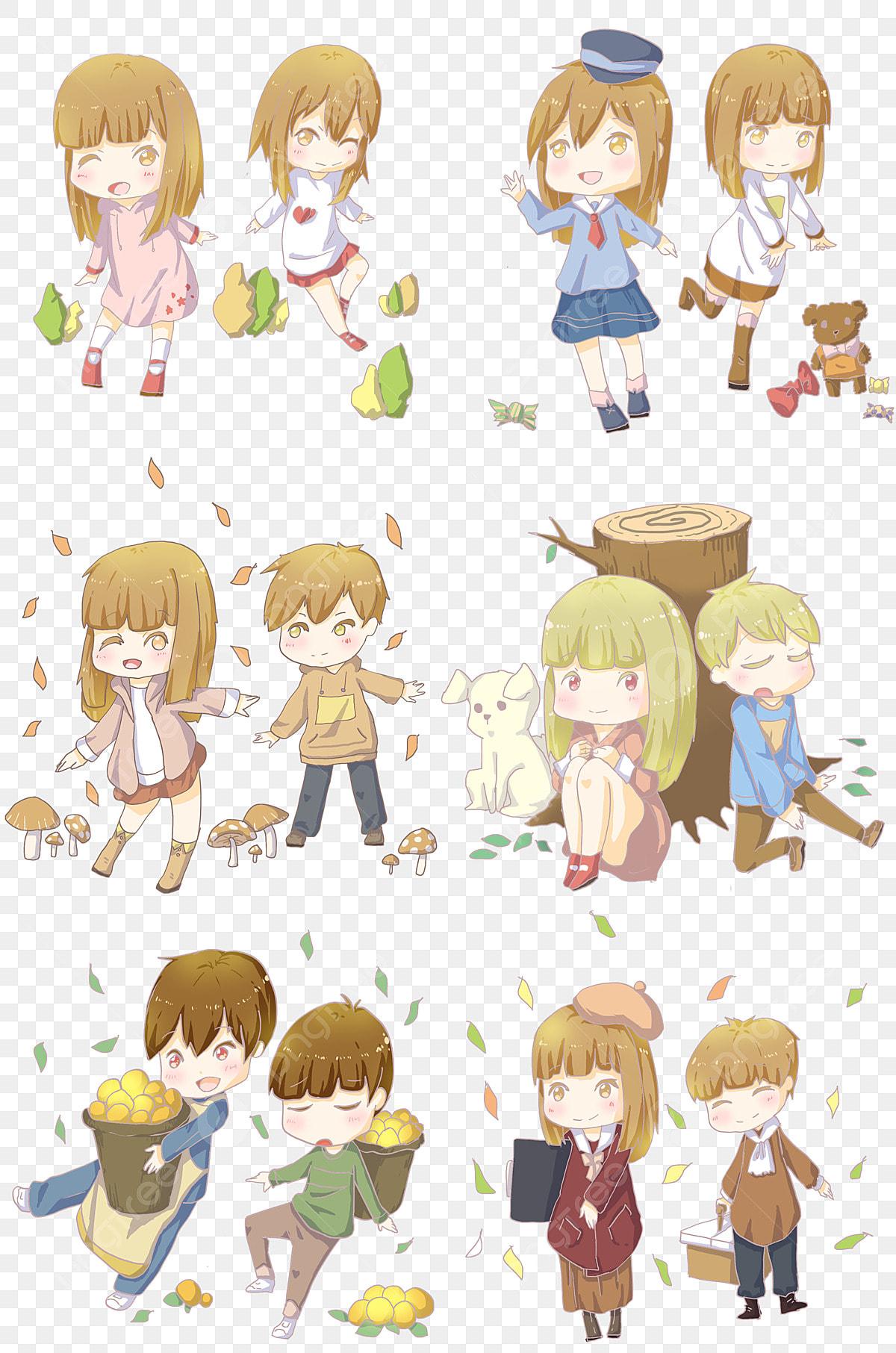 Autumn Boys And Girls Cute Cartoon Cartoon Characters Boy Girl
