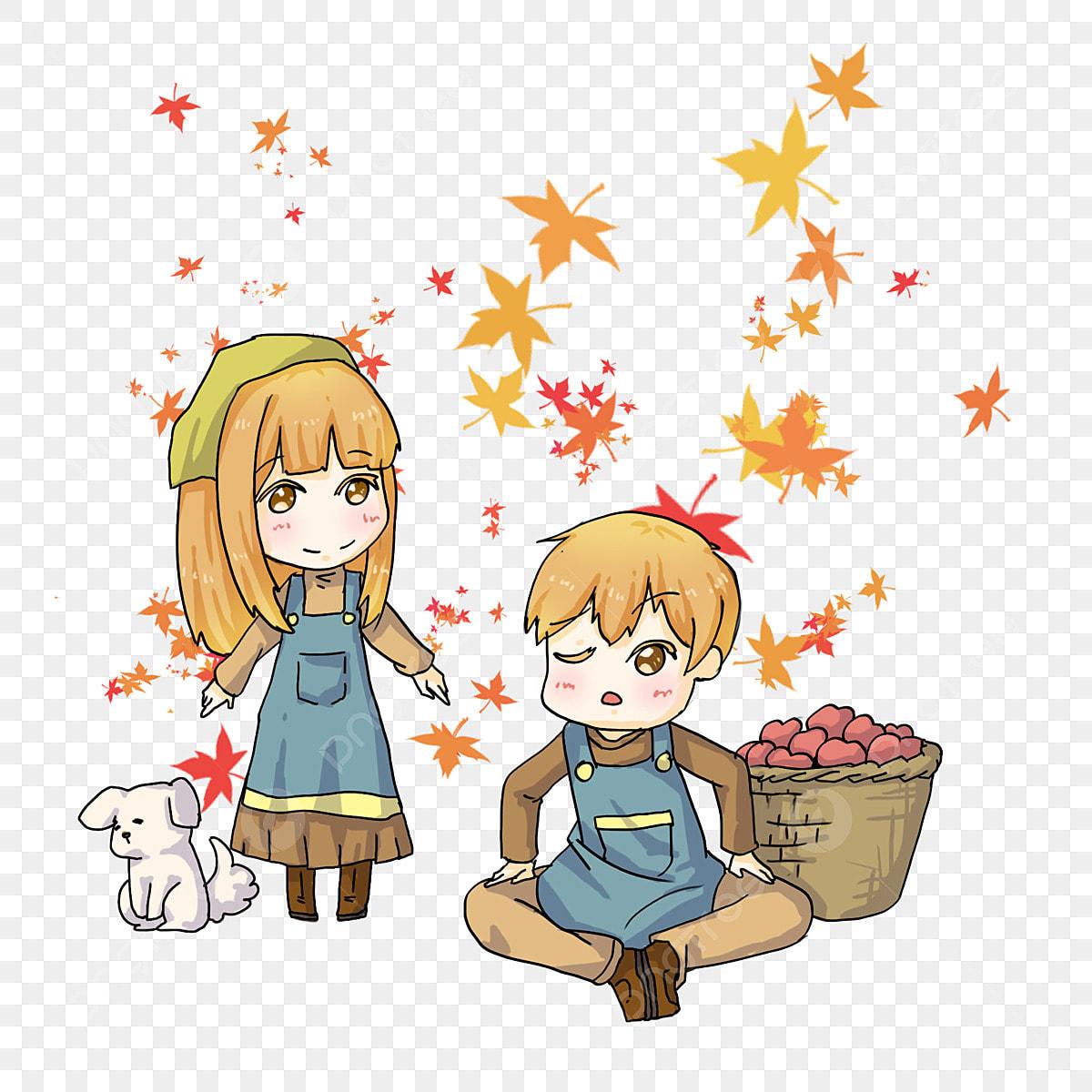 Autumn Fruit Picking Cartoon Characters Boy Girl Yellow Hair Cartoon