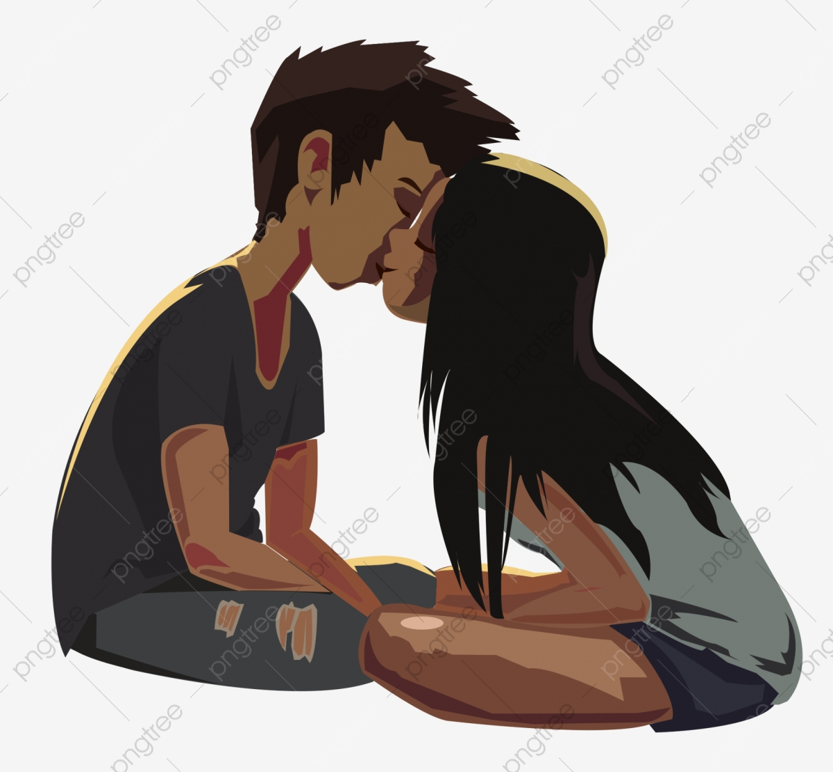Kiss illustration. Beautiful love couple cartoon