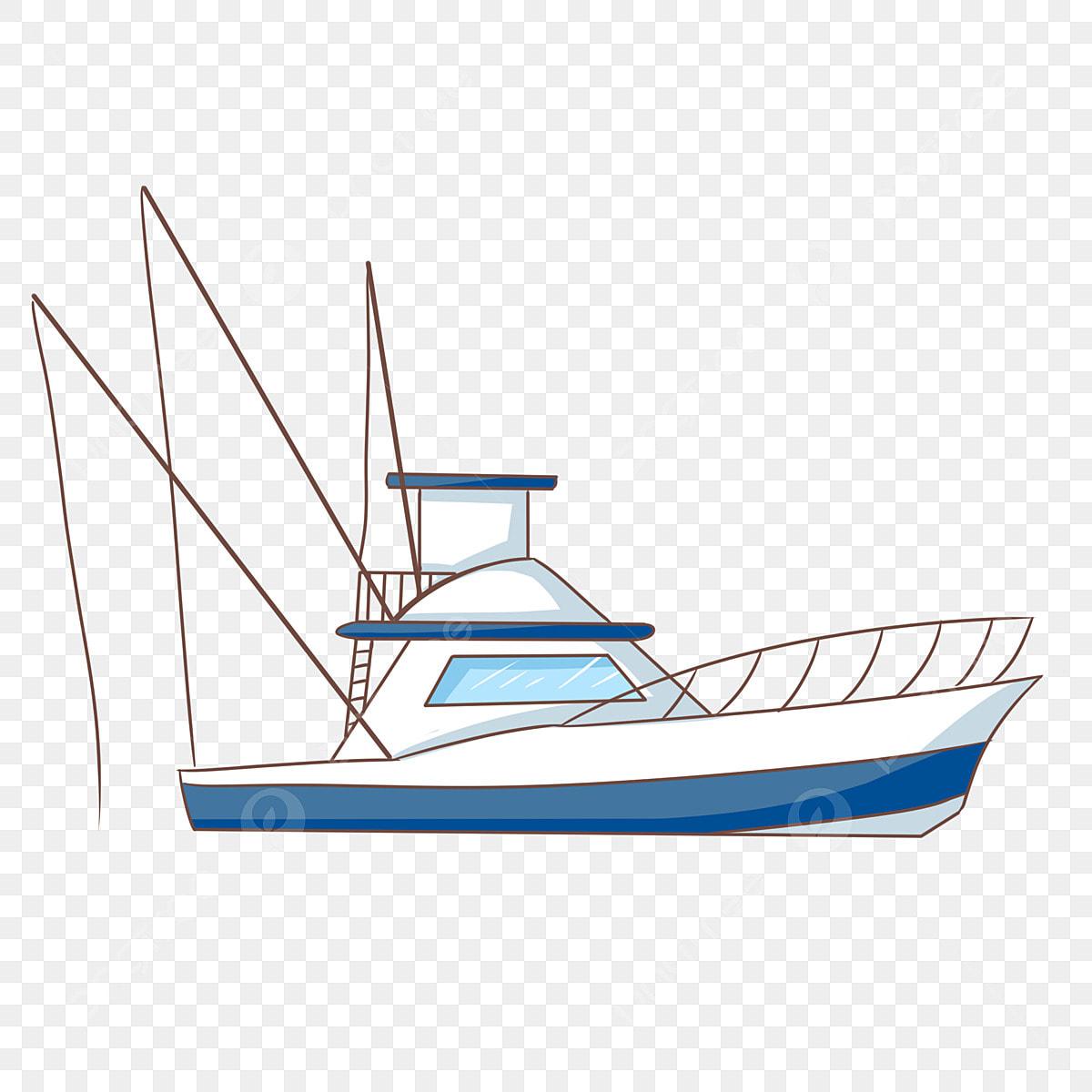 Barco Azul Mástil Alto Hermoso Barco Ilustración De Dibujos