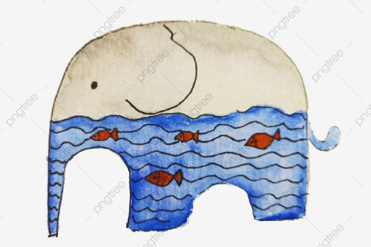 Eau De Mer Bleue Poisson Rouge Poisson Nageant Elephant Gris