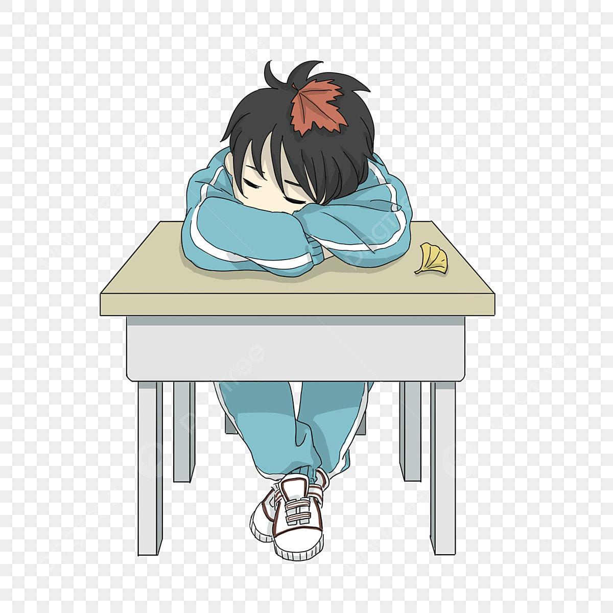 Garçon Dormant Sur La Table Version Cartoon Q Garçon Garçon