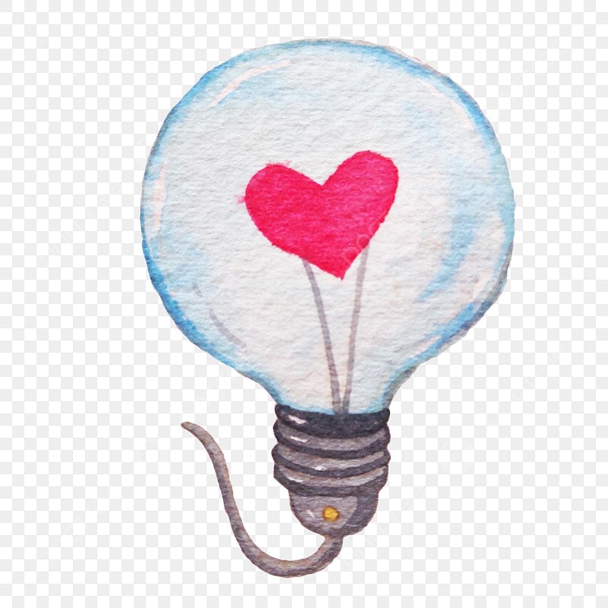 Bright Light Bulb Red Heart Shape Cartoon Illustration Hand Drawn