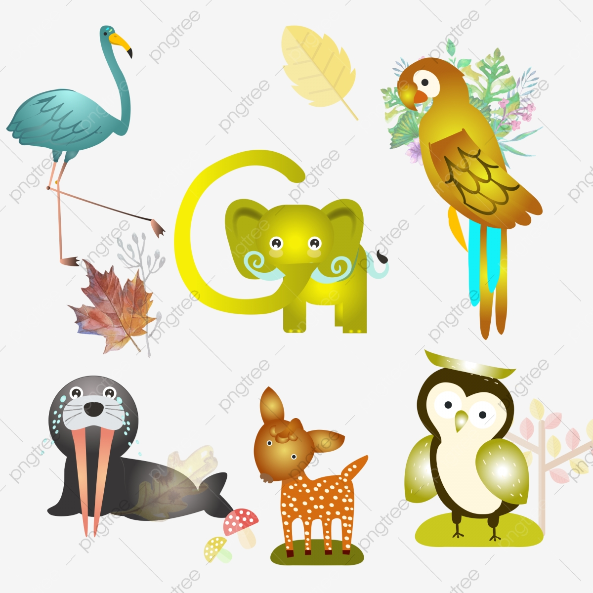 Animal De Bande Dessinee Petit Oiseau Pie Elephant Pleure Lion De