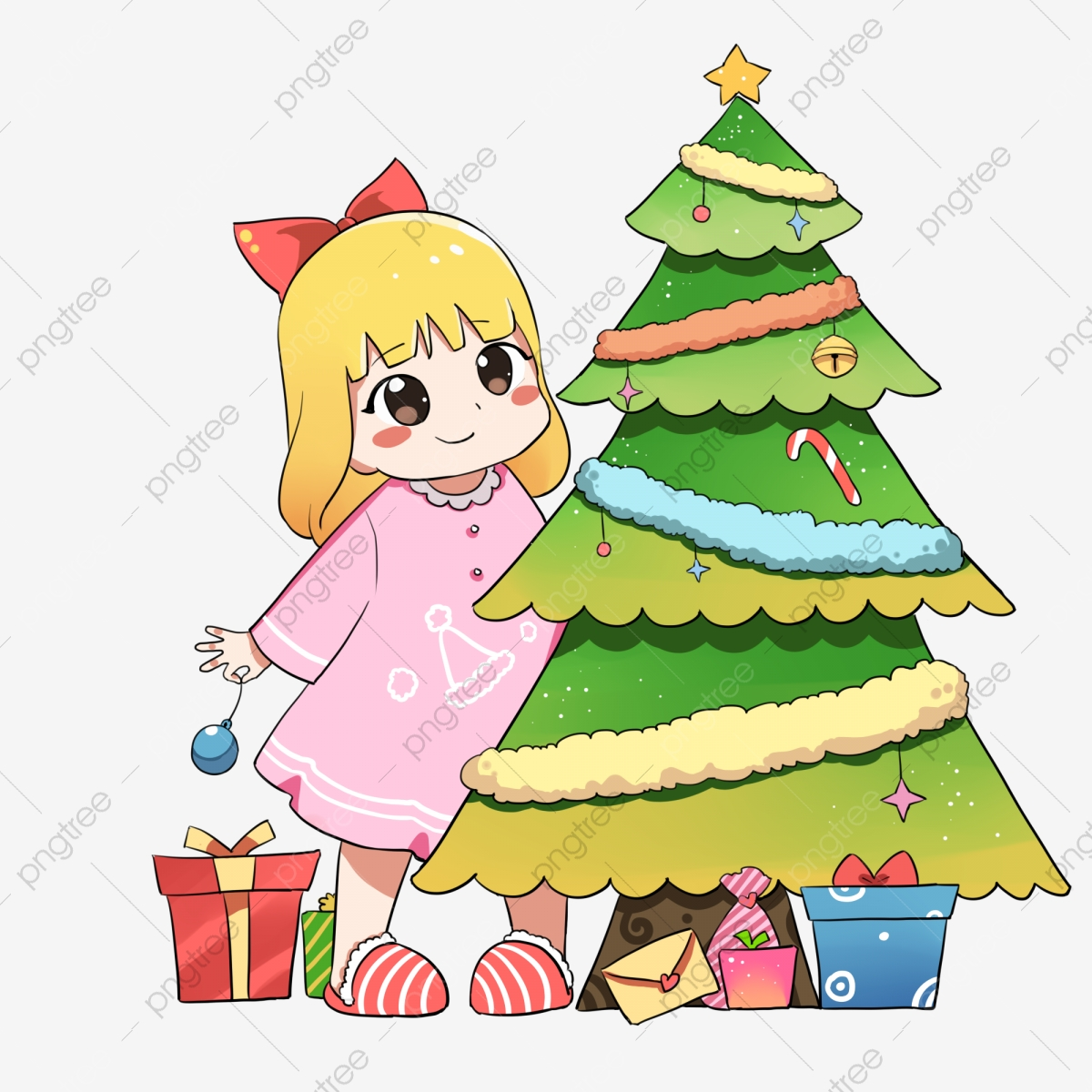 Dibujos Animados De Navidad Niña De Dibujos Animados Decorar