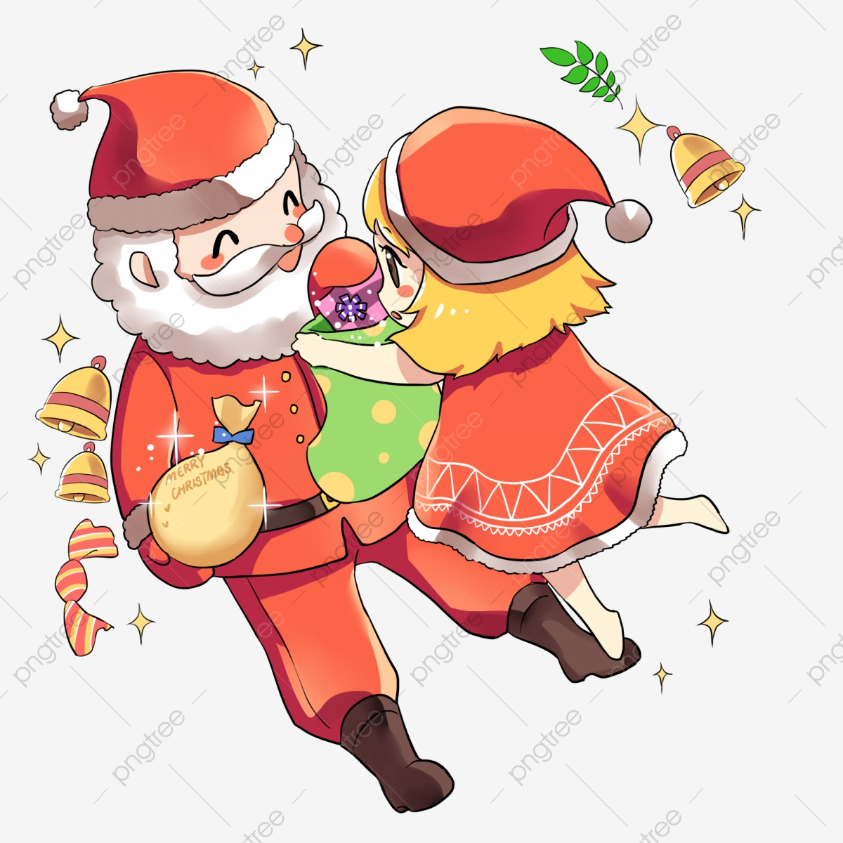 Free christmas traditional. Cartoon girl giving a