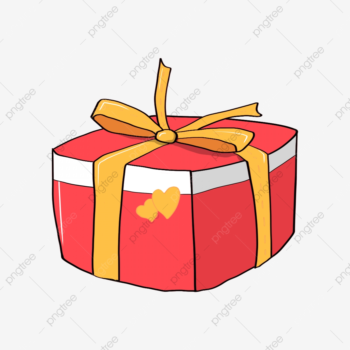 Cartoon Gift Box Red Gift Box Yellow Ribbon Wrap Yellow Heart Shape