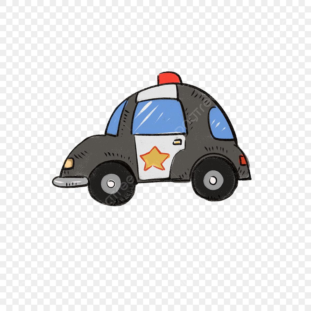 Carro Desenhado Mao Dos Desenhos Animados Carro De Policia Carro