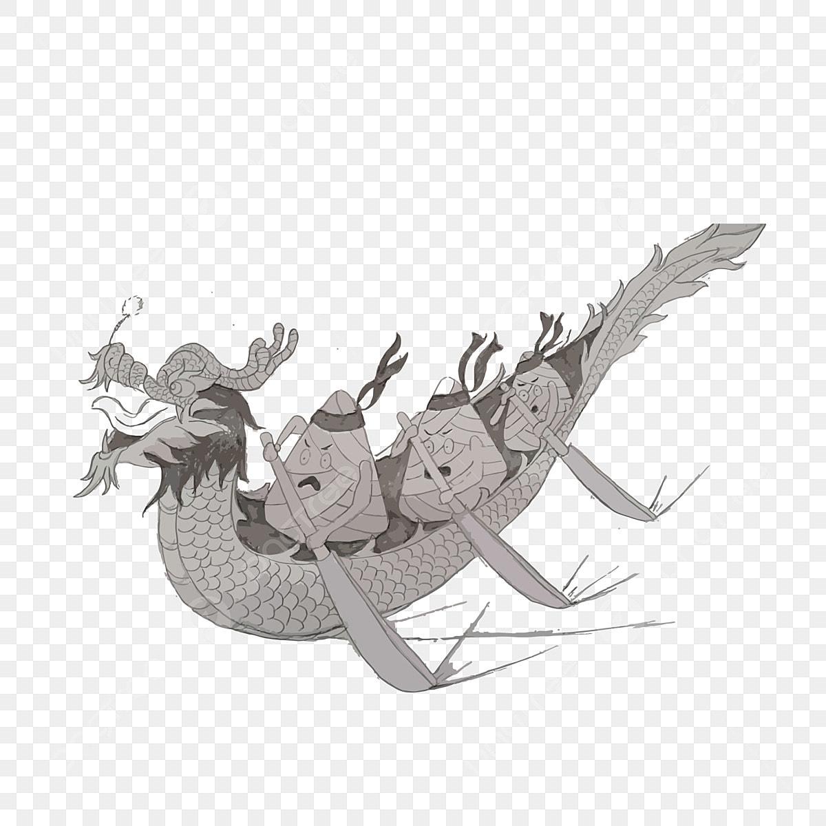 Dibujado A Mano De Dibujos Animados Festival Del Barco Del Dragón