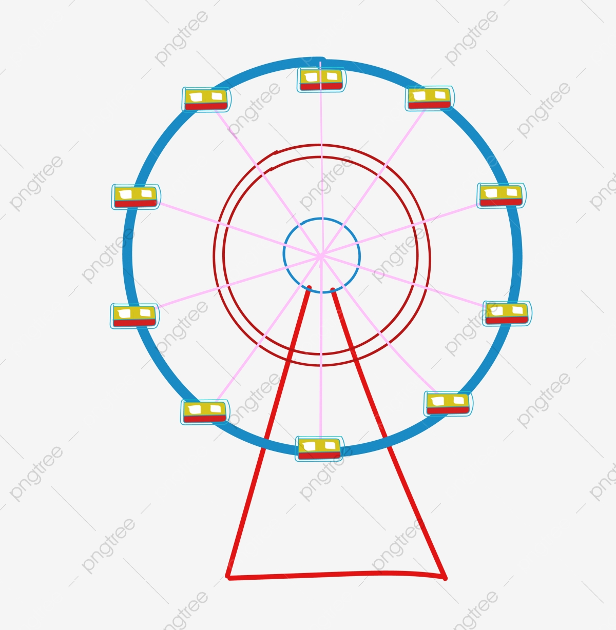 Cartoon Hand Painted Ferris Wheel Playground Simple Line Lovely Png And Vector With Transparent Background For Free Download