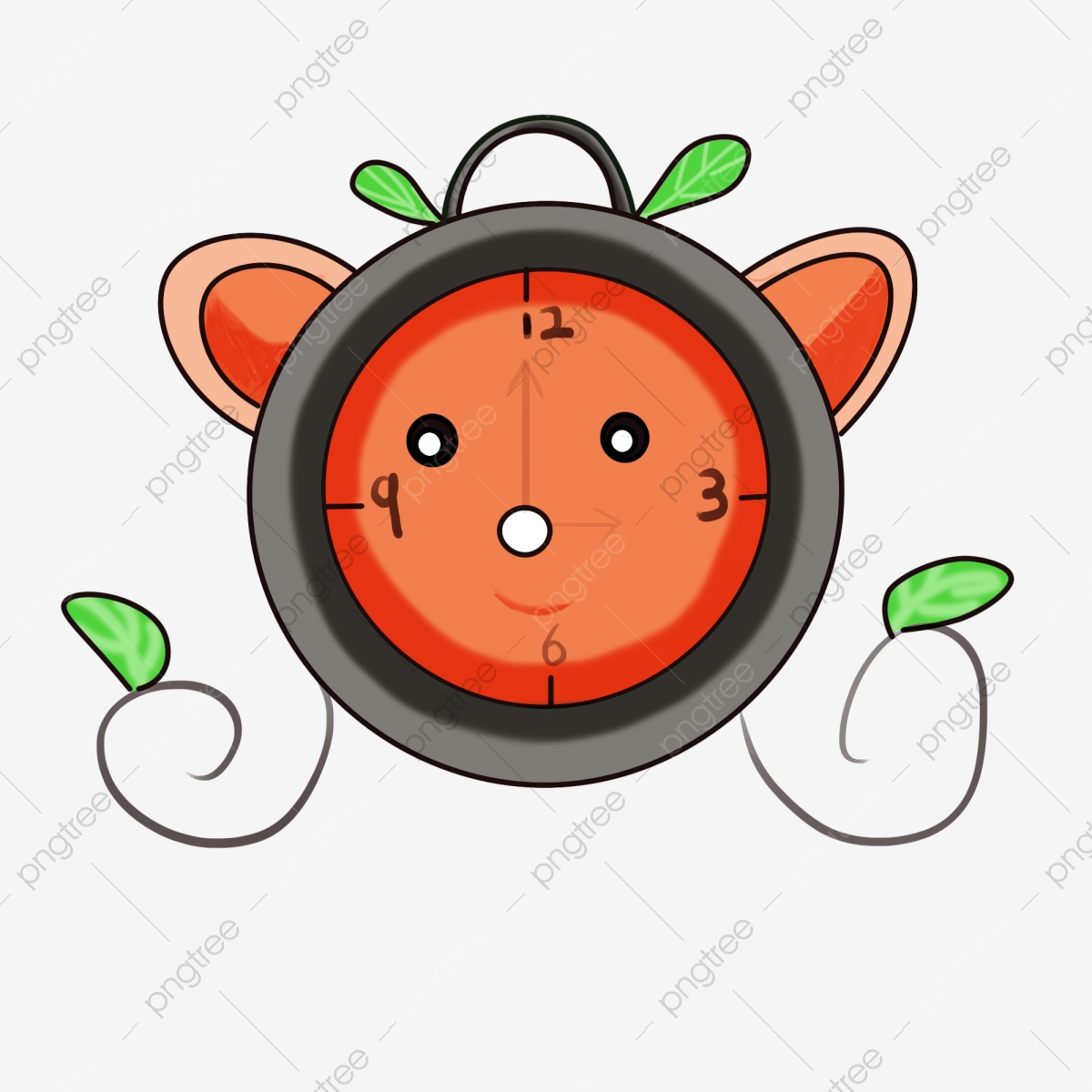 Cartoon Hand Painted Plant Cute Alarm Clock Lovely Alarm