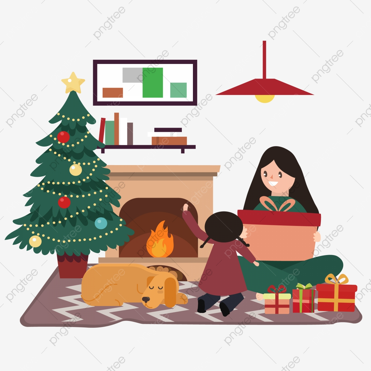 Mother Christmas Cartoon.Cartoon Illustration Of Mother And Daughter By The Wind
