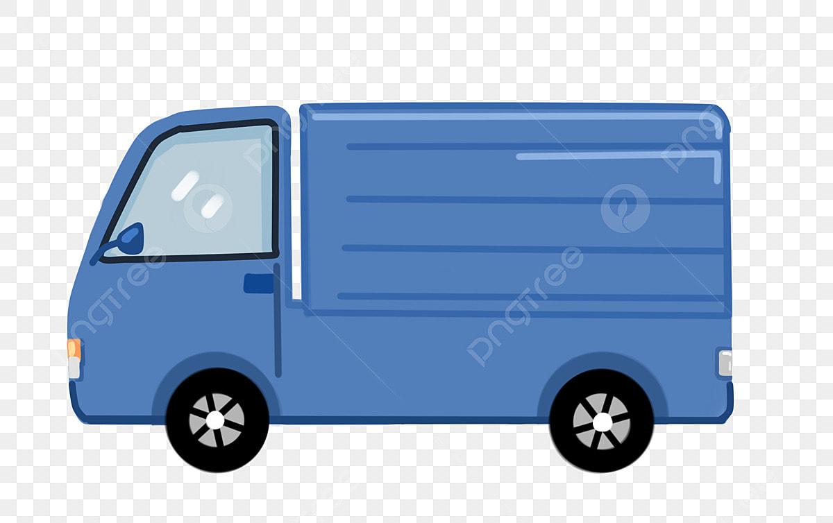 Wagon De Dessin Animé Camionnette Bleue Wagon De Dessin