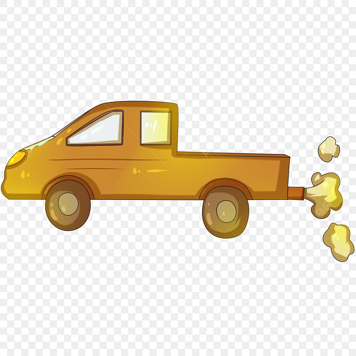 Wagon De Dessin Animé Camionnette Jaune Wagon De Dessin